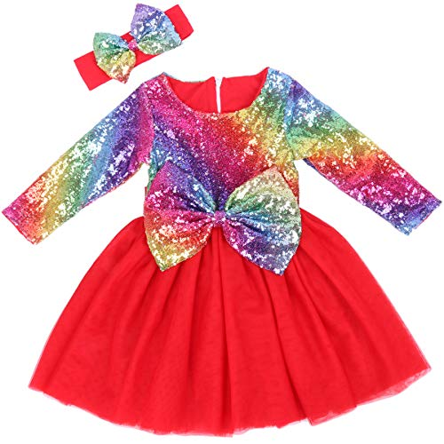 Cilucu Flower Girls Dresses Toddlers Sequin Party Dress Tutu Baby Prom Pageant Dresses Wedding Gown Kids Long Sleeve Christmas New Year Gift Red Rainbow 7-8years -