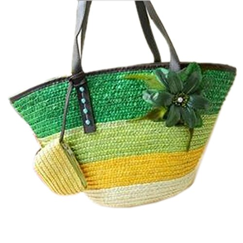 Weave Canvas Package Green Bags Bags Flower Striped Shoulder Casual Pestanas Women 6w8dg6
