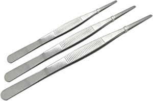 """Adecco LLC Stainless Steel Tongs tweezer with precision serrated tips for surgical & sea food (8"""" 10"""" 12"""")"""