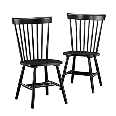Sauder New Grange Spindle Back Chairs, Black finish - Solid wood construction Includes two chairs Black finish - kitchen-dining-room-furniture, kitchen-dining-room, kitchen-dining-room-chairs - 51FFx5XkqpL. SS400  -