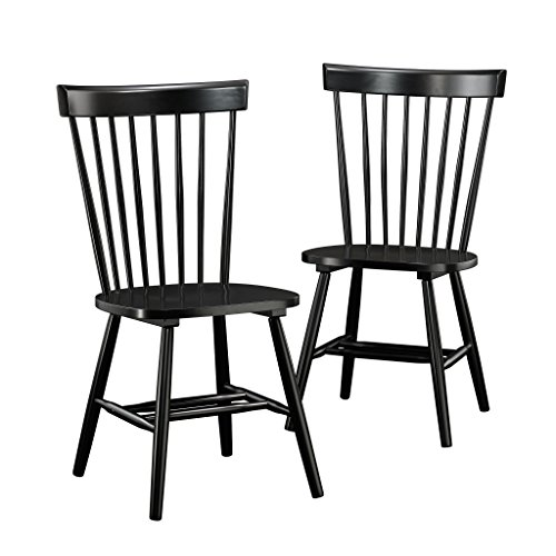 Sauder 418892 New Grange Spindle Back Chairs, L: 20.47″ x W: 21.26″ x H: 36.22″, Black Finish