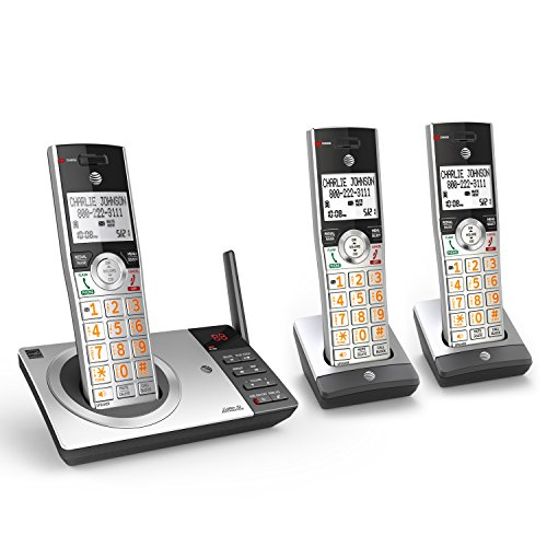 AT&T CL82307 DECT 6.0 Expandable Cordless Phone with Answering System & Smart Call Blocker, Silver/Black with 3 Handsets ()