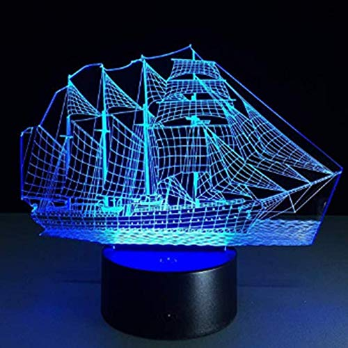 Tesco store-Sailboat 3D Illusion Lamp, 7 Colors Changing Optical Illusion Touch Table Desk LED Night Light Great Kids Gifts Home Decoration (Christmas Tesco's Lights)