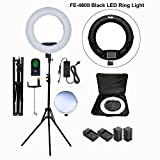 Yidoblo 96W 18'' LED Ring Light Kit FE-480II Black Photo Studio Video Portrait Selfie Makeup Youtub Lighting Bicolor with Remote, Phone/Camera Holder, Mirror, Light Stand, Batteries&Chargers, Carry Bag
