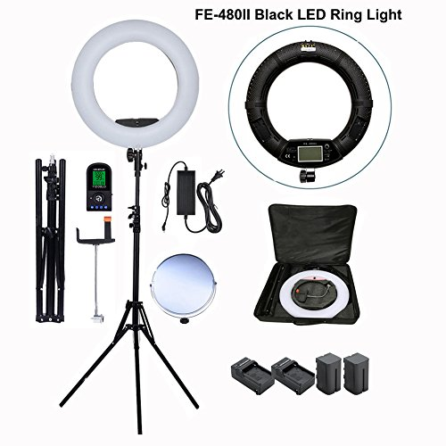 Yidoblo 96W 18'' LED Ring Light Kit FE-480II Black Photo Studio Video Portrait Selfie Makeup Youtub Lighting Bicolor with Remote, Phone/Camera Holder, Mirror, Light Stand, Batteries&Chargers, Carry Bag by Yidoblo