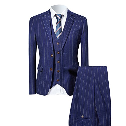 WEEN CHARM Men 3 Pieces Two Button Slim Fit Notch Lapel Suit Jacket Vest & Trousers Set by WEEN CHARM