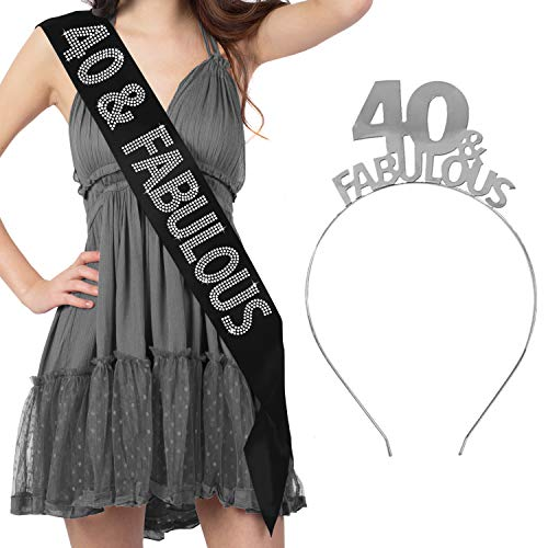 40th Birthday Sash Gift Set - 40 & Fabulous Rhinestone Black Sash & Silver Headband Tiara - Black GSet(40&Fab SLV) Blk