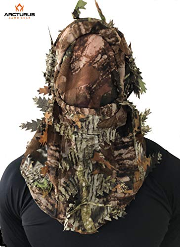 Arcturus Camo 3D Leaf Face Mask: Versatile, Full Coverage, Breathable Face Mask with Customizable Fit and Camo Patterns (All Season Hardwood)