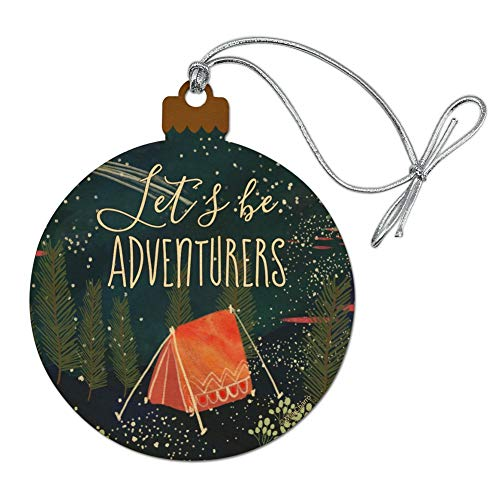 GRAPHICS & MORE Let´s Be Adventurers Tent Camping Night Moon Shooting Stars Wood Christmas Tree Holiday Ornament]()