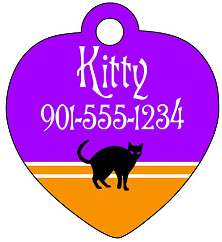 (Halloween Themed Pet Id Tag for Dogs & Cats Personalized w/ Name & Number (Black Cat, Heart)