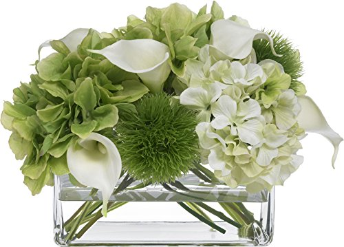 - BLOOMS by Diane James Faux Hydrangea and Calla Lily Bouquet in Glass Rectangle Vase