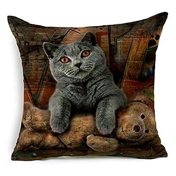 MAYUAN520 Cojines Funda De Cojín Algodón Chow Chow Perros Gatos Mascotas Cebra Marrón Home Almohadones Decorativos Cubierta Para Sofá,4: Amazon.es: Hogar