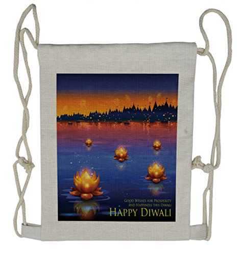 Lunarable Diwali Drawstring Backpack, Prosperity and Well Wishes, Sackpack Bag by Lunarable
