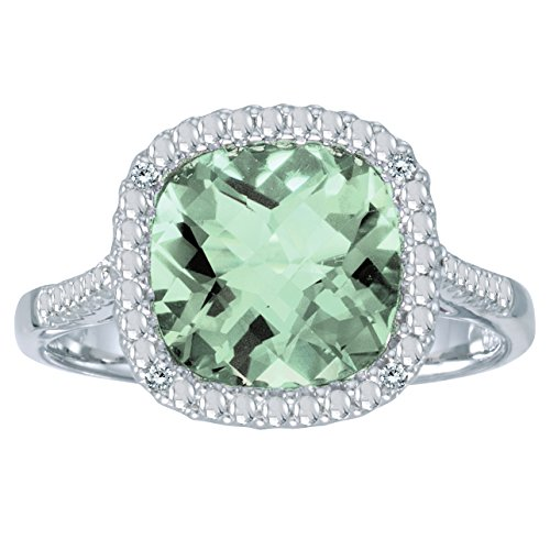 1.22 Carat ctw 14k Gold Green Amethyst Diamond Infinity Halo Split Shank Engagement Fashion Ring - White-gold, Size 9