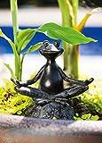 "Evergreen Garden Sitting Yoga Frog Polystone Outdoor Statue - 6.75""W x 3.25""D x 7""H"
