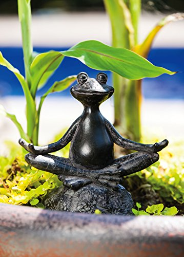 "Evergreen Garden New Creative Sitting Yoga Frog Polystone Outdoor Statue – 6.75""W x 3.25""D x 7""H"