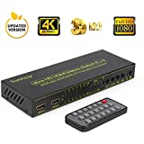 HDMI Matrix Switch (6-Input 2-Output), Fiveboy HDMI Audio Extractor with Remote Control, Support PIP, ARC, 4Kx2K@30Hz, 3D for HD Displays, Home Theater, Audio Receiver