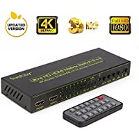 HDMI Matrix Switch (6-Input 2-Output), Fiveboy HDMI Audio Extractor IR Remote Control, Support PIP, ARC, 4Kx2K@30Hz, 3D HD Displays, Home Theater, Audio Receiver