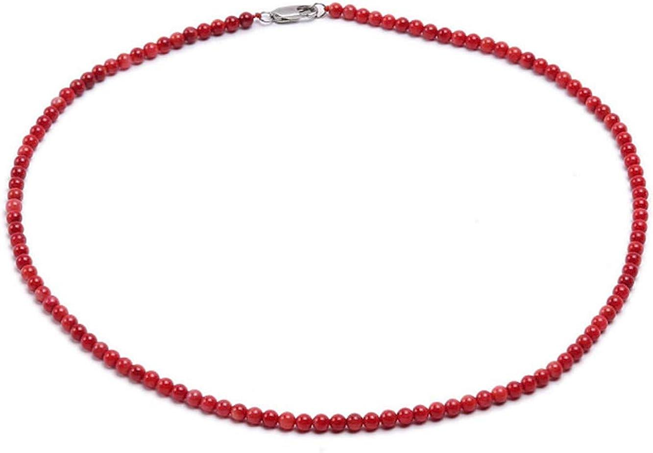 JYX Collar de coral para mujer, pequeño, 4 mm, rojo, redondo, con cuentas de coral de una hebra y collar de 44,4 cm