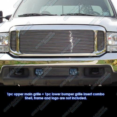 Ford Billet Duty F350 Super - APS Compatible 1999-2004 Ford F-250/F-350 Super Duty/Excursion Billet Grille Grill Combo Insert