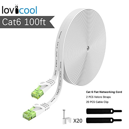 Cat 6 Ethernet Cable 100ft White,Lovicool Flat Internet Lan Patch Networking Cable 250MHz Speed Internet Patch Cable Snagless Rj45 Connectors with Cable Clips 30 Meters by Lovicool