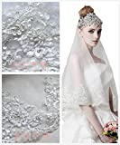 Passat Pale Ivory Two-Tier 36'' Fingertip Wedding Veil with Pearl Beads Embellished Alencon Lace R172