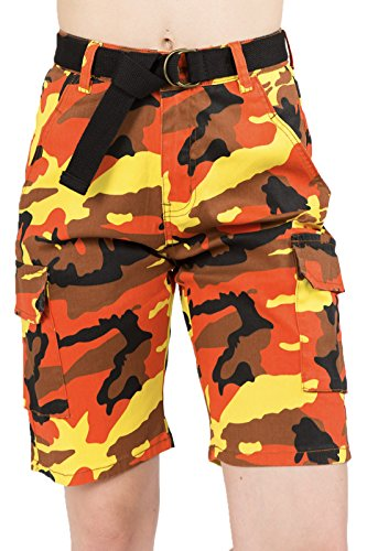 Orange Bermuda - TwiinSisters Women's Casual Mid Rise Camo Print Cargo Twill Bermuda Shorts with Comfort Stretch (Small, Orange Camo #rss2050)