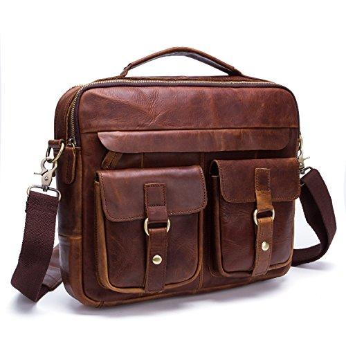 Baigio- bolso de cuero auténtico bandolera de piel de hombro para hombre bolsa de mano de viaje trabajo oficina uso diario maletín mensajero estilo vintage marrón