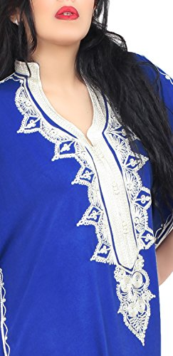 Moroccan Caftan Hand Made Top Quality Breathable Cotton with Hand Embroidery Long Length Blue by Moroccan Caftans (Image #4)