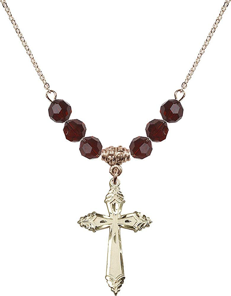 18-Inch Hamilton Gold Plated Necklace with 6mm Garnet Birthstone Beads and Cross Charm Garnet January Birthstone