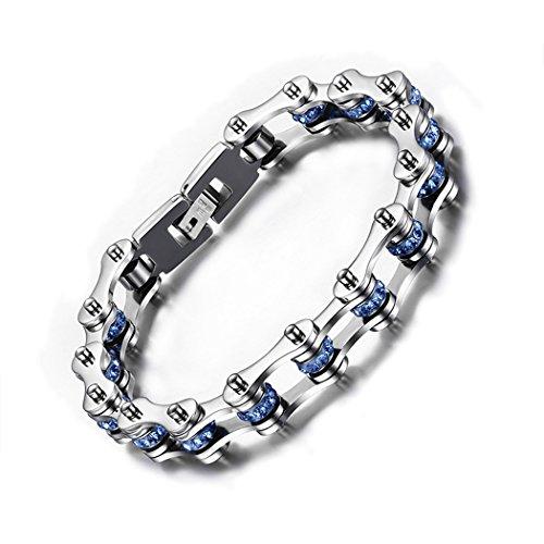 Red Dandelion Fashion Personalize Blue Rhinesstone Titanium Steel