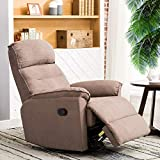 CANMOV Contemporary Fabric Swivel Rocker Recliner Chair - Soft Microfiber Single Manual Reclining Chair, 1 Seat Motion Sofa Recliner Chair with Padded Seat Back, Smoke Gray