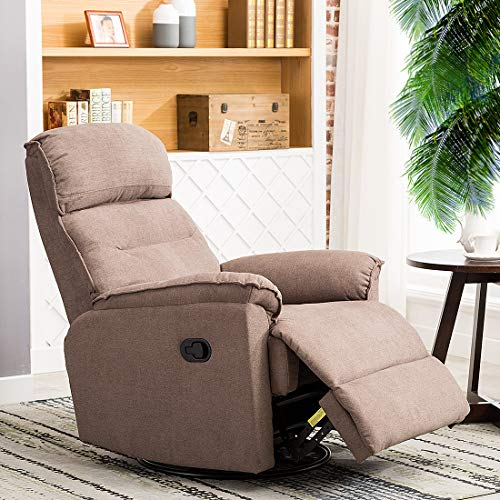 CANMOV Contemporary Fabric Swivel Rocker Recliner Chair - Soft Microfiber Single Manual Reclining Chair, 1 Seat Motion Sofa Recliner Chair with Padded Seat Back, Smoke ()