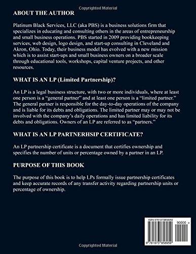 LP Partnership Certificates Corporate Starter Kit: Organized in the