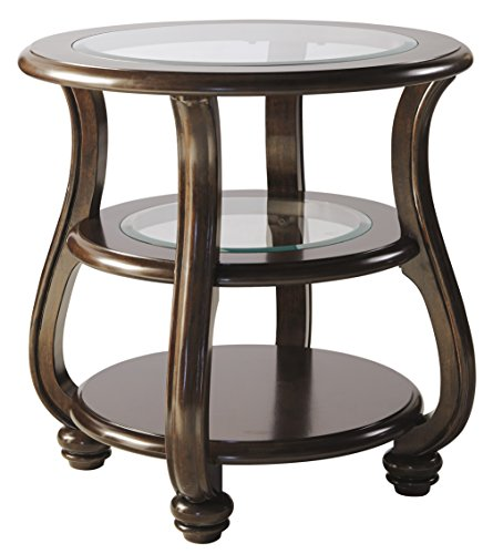 Cheap Ashley Furniture Signature Design – Yexenburg Traditional Round End Table with Storage Shelves – Dark Brown