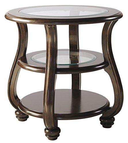 Ashley Furniture Signature Design - Yexenburg Traditional Round End Table with Storage Shelves - Dark Brown