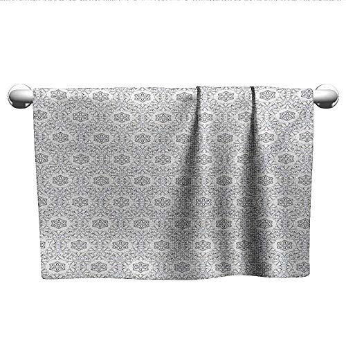 Disney Babies Scroll 14 - alisoso Floral,Baby Towels Scroll Style Pattern with Curled Leaf Motifs Abstract Modern Mosaic Tile Sports Ttowel Black Blue and White W 14