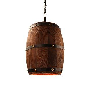 Newrays Antique Wood Wine Barrel Pendant Lamp Hanging Rustic Unique Kitchen Bar Ceiling Lamp Light Fixtures