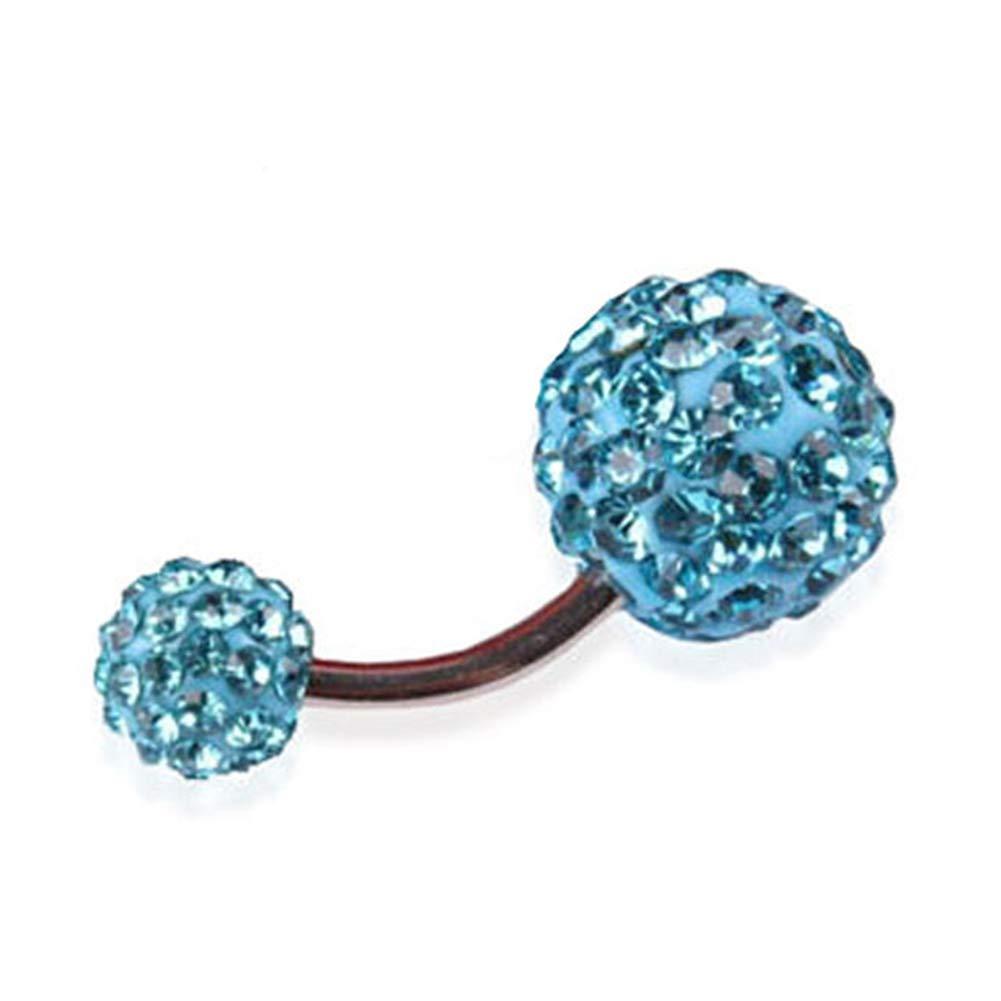 SoundsBeauty Shiny Rhinestone Inlaid Ball Pendant Belly Button Ring Barbell Body Piercing Jewellery Lake Blue