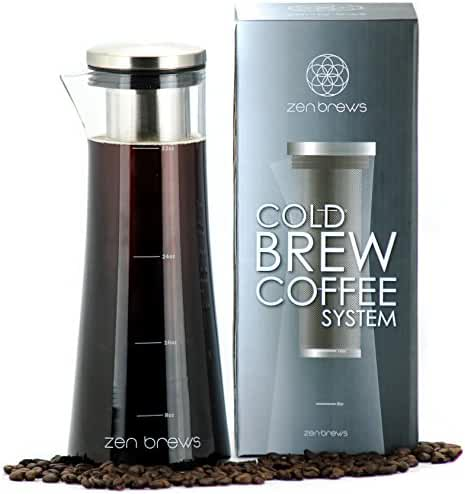 Zen Brews Cold Brew Coffee System | Make Delicious Low Acidity - High Caffeine Cold Brew Coffee at Home | eBook with 40 Recipes | Elegant 32oz Glass Carafe with Stainless Steel Filter and Extra Gasket
