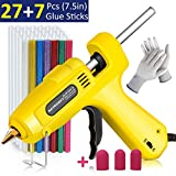 Hot Glue Gun, Natrosky Full Size 60 Watt High-Temperature Glue Gun Kit with 3pcs Finger Caps, 34pcs Glue Sticks and A Pair of Gloves, Flexible Trigger for Crafts, DIY, Arts and Home Repair(Yellow)