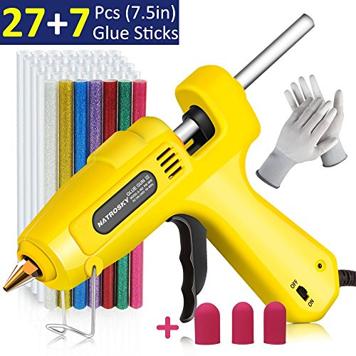 Hot Glue Gun, Natrosky Full Size 60 Watt High-Temperature Glue Gun Kit with 3pcs Finger Caps, 34pcs Glue Sticks and A Pair of Gloves, Flexible Trigger for Crafts, DIY, Arts and Home Repair(Yellow) by Natrosky