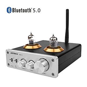 AIYIMA Audio 6J1 Tube Preamplifier Bluetooth 5.0 HiFi Treble & Bass Adjustment Audio Preamplifier DC12V Amplifier Preamp for Home Theater System (Silver+Bluetooth 5.0)