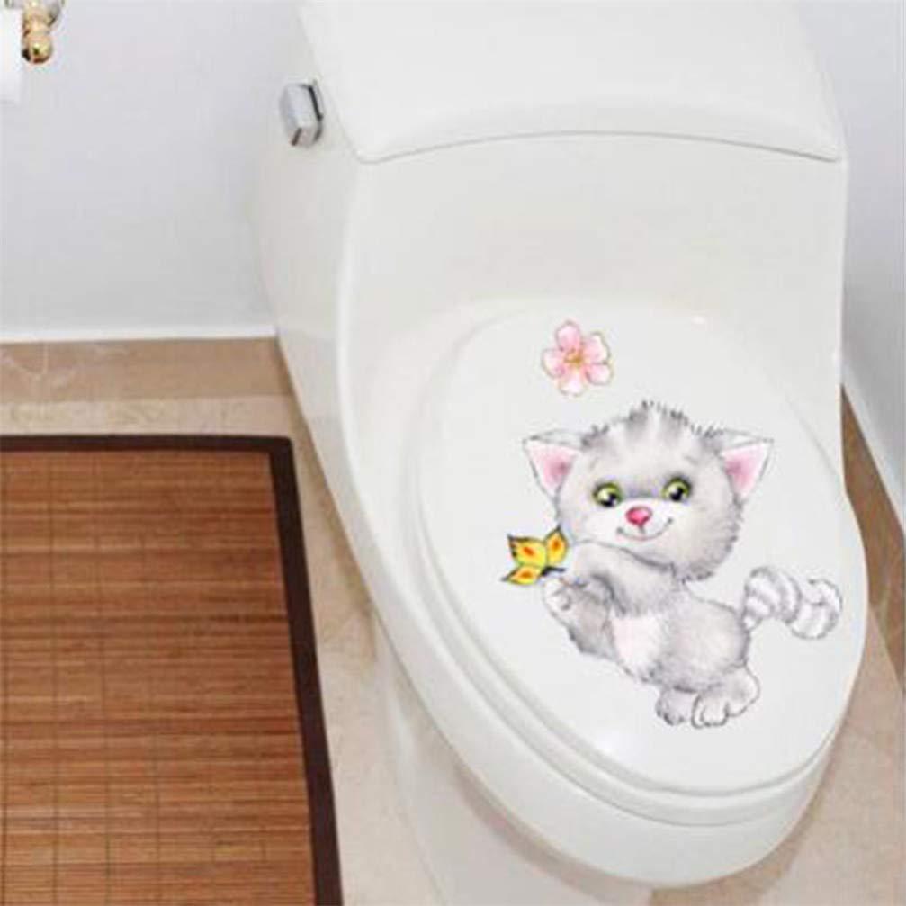 1# BUHBU Nette Katze Wc-Sitz Aufkleber Bad Toilettendeckel Aufkleber Home Wandt/ür Aufkleber Bad Kunst Aufkleber