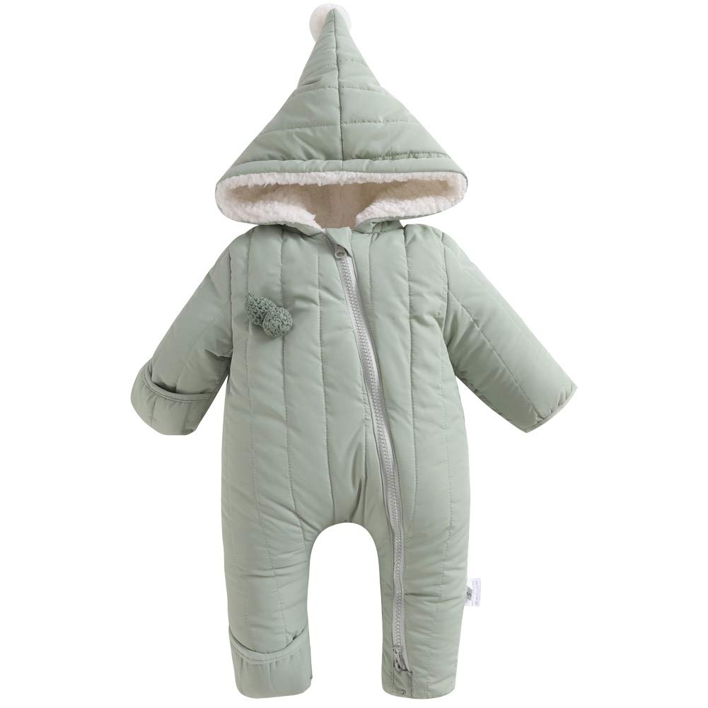 Y·J Back home Baby Girls Boys Fleece Lined Romper Puffer Jumpsuit Winter Outerwear Hood Toddler Warm Outfit,9-12 Months,Olive by Y·J Back home