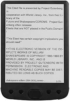 LKJH Lector de Libros electrónicos de 6 Pulgadas Mini Pantalla de Tinta electrónica Lector de Libros electrónicos 800x600 Doc PDF TXT Regalo multifunción E-Reader for Estudiantes (Color : Black): Amazon.es: Electrónica