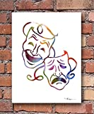 """""""Comedy Tragedy"""" Abstract Watercolor Drama Art Print By Artist DJ Rogers"""