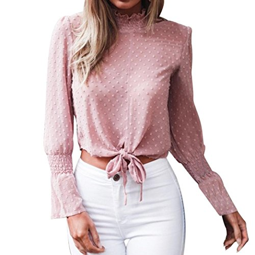 (MODOQO Women Chiffon Floral Flare Sleeve Short Bow Shirt Dot Print Top Blouse Pink)