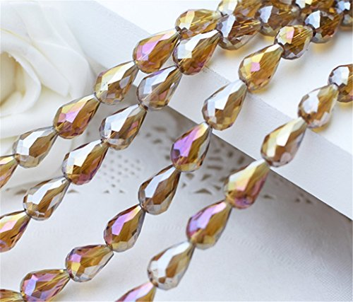 new 100pcs 10x15mm amber AB Teardrop Shape Tear Drop Glass Faceted Loose Crystal Beads ()