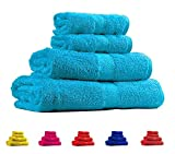 Trident Soft and Light 100% Combed Cotton 400 GSM 4-Pieces (Bath & Hand) Towel Gift Set, Teal Sachet